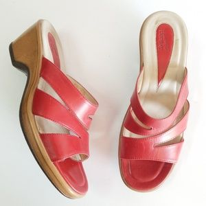 Dansko red leather slides sandals